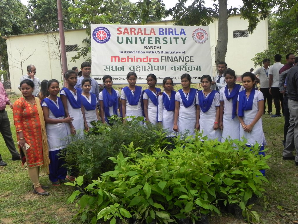 Plantation Drive By Sarala Birla University in association with Mahindra Finance held on 19th of July,2019