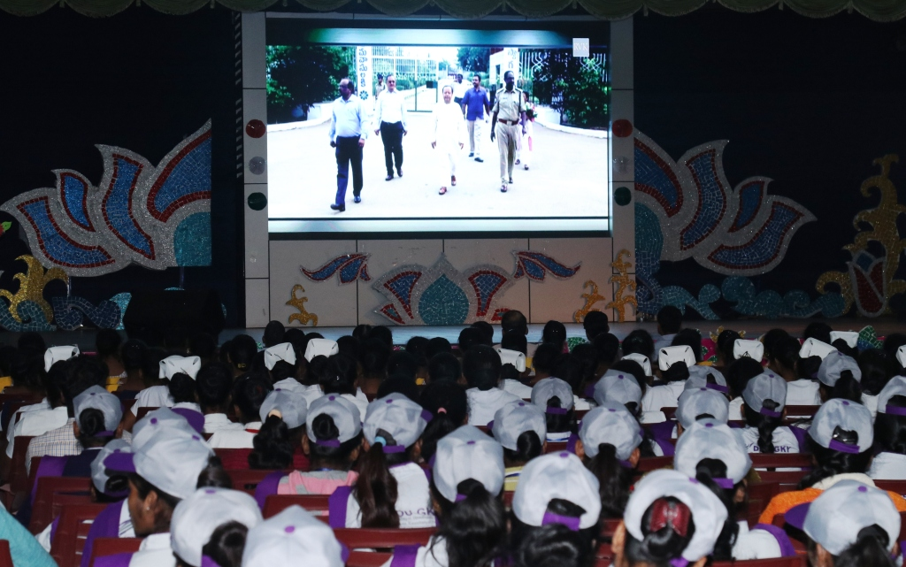 Peace Foundation Day: Guest ,Faculties & Students watching video presentation